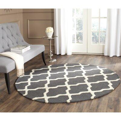 Charlenne Wool Dark Grey/Ivory Area Rug Rug Size: Round 4