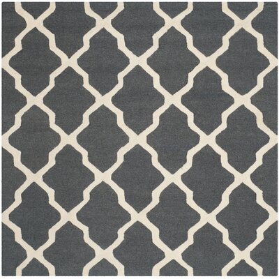 Charlenne Wool Dark Grey/Ivory Area Rug Rug Size: Square 4