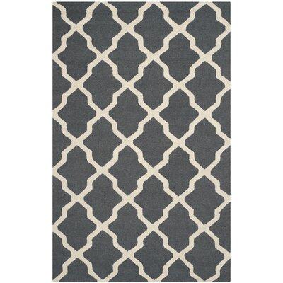 Charlenne Wool Dark Grey/Ivory Area Rug Rug Size: 6 x 9