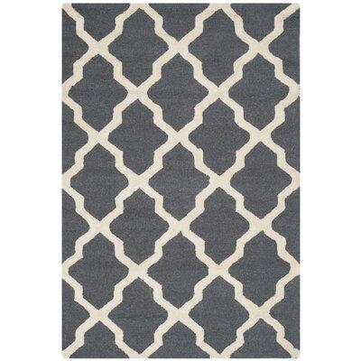 Charlenne Wool Dark Grey/Ivory Area Rug Rug Size: 2 x 3