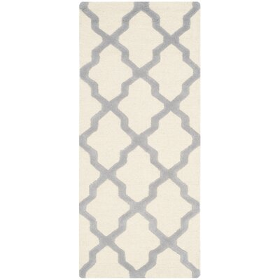 Martins Ivory/Silver Area Rug Rug Size: Runner 26 x 6