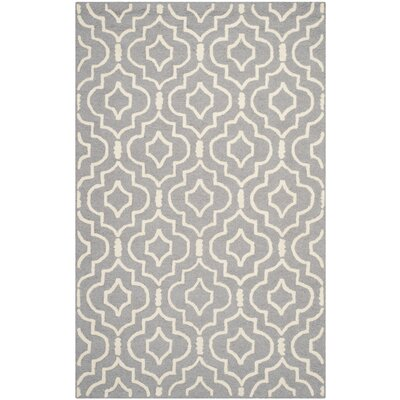 Martins Silver / Ivory Area Rug Rug Size: Rectangle 4 x 6
