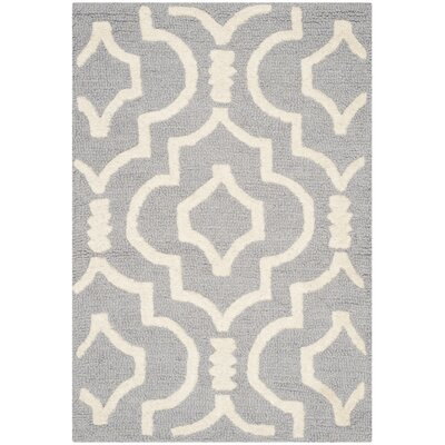 Martins Silver / Ivory Area Rug Rug Size: Square 8