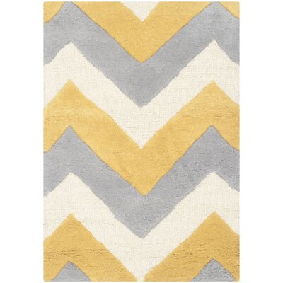 Charlenne Grey & Gold Area Rug Rug Size: 2 x 3
