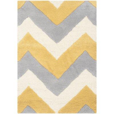Charlenne Grey & Gold Area Rug Rug Size: 3 x 5