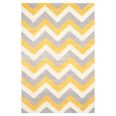 Charlenne Grey & Gold Area Rug Rug Size: 4 x 6