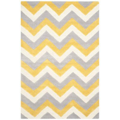 Martins Grey & Gold Area Rug Rug Size: 5 x 8