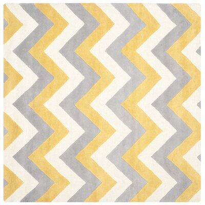 Martins Grey & Gold Area Rug Rug Size: Square 6