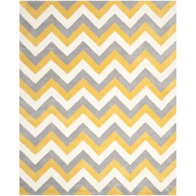 Martins Grey & Gold Area Rug Rug Size: 9 x 12