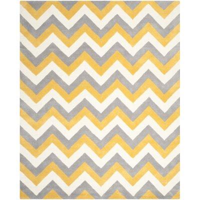 Charlenne Grey & Gold Area Rug Rug Size: 9 x 12
