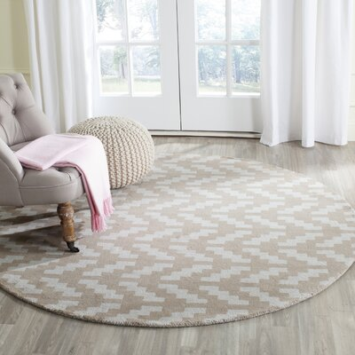 Martins Grey / Taupe Area Rug Rug Size: Round 6