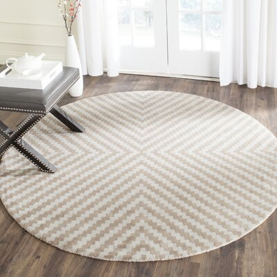 Martins Grey & Taupe Area Rug Rug Size: Round 6