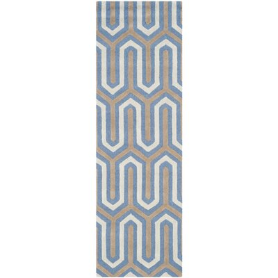 Martins Hand-Tufted Navy/Gray Area Rug Rug Size: Runner 26 x 8