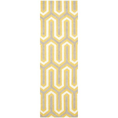 Martins Hand-Tufted Gold/Gray Area Rug Rug Size: Runner 26 x 8