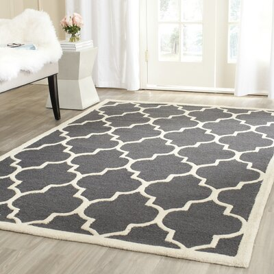 Charlenne Hand-Tufted Dark Gray/Ivory Area Rug Rug Size: Rectangle 11 x 15