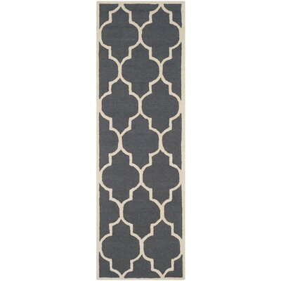 Charlenne Hand-Tufted Dark Gray/Ivory Area Rug Rug Size: Runner 26 x 16