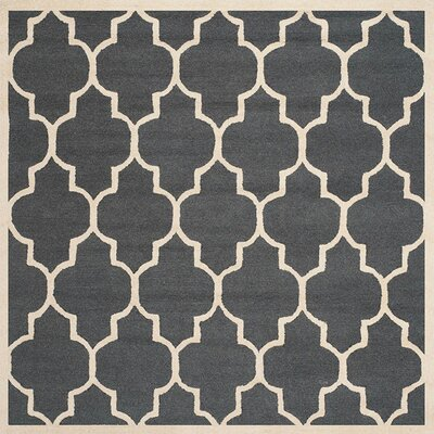 Charlenne Hand-Tufted Dark Gray/Ivory Area Rug Rug Size: Square 8