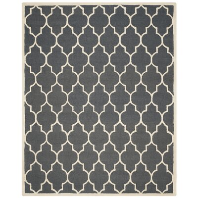 Martins Dark Grey/Ivory Area Rug Rug Size: 10 x 14