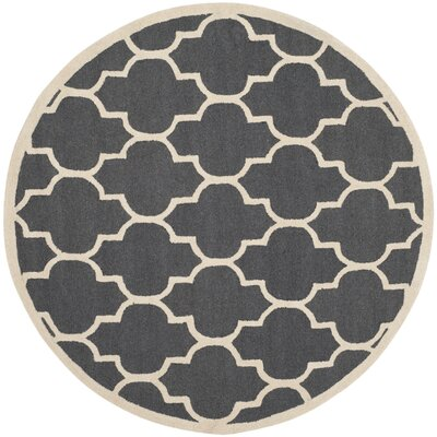 Charlenne Hand-Tufted Dark Gray/Ivory Area Rug Rug Size: Round 10