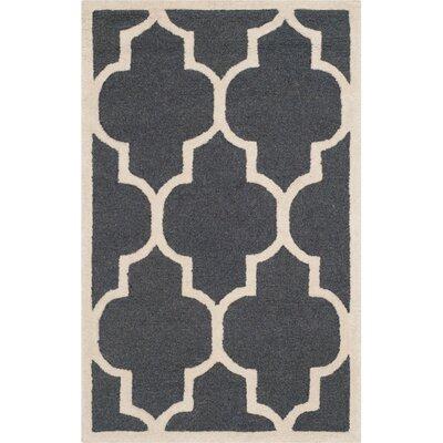 Charlenne Dark Grey/Ivory Area Rug Rug Size: 2 x 3