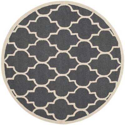 Charlenne Hand-Tufted Dark Gray/Ivory Area Rug Rug Size: Round 8