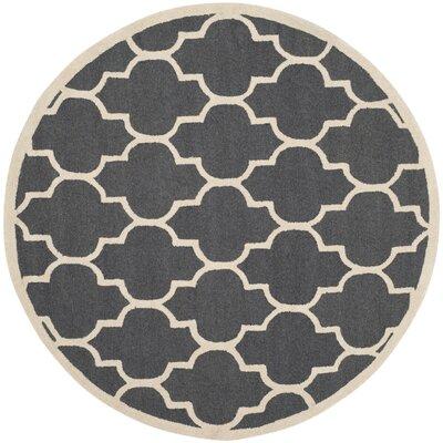 Charlenne Hand-Tufted Dark Gray/Ivory Area Rug Rug Size: Round 8