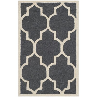 Charlenne Hand-Tufted Dark Gray/Ivory Area Rug Rug Size: Rectangle 26 x 4