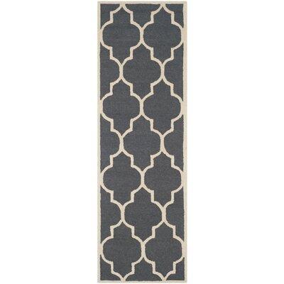 Charlenne Hand-Tufted Dark Gray/Ivory Area Rug Rug Size: Runner 26 x 8
