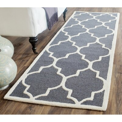 Martins Dark Grey/Ivory Area Rug Rug Size: Runner 26 x 8