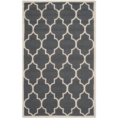 Charlenne Dark Grey/Ivory Area Rug Rug Size: 5 x 8