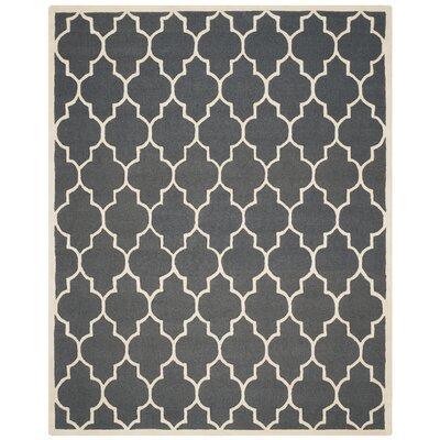 Charlenne Dark Grey/Ivory Area Rug Rug Size: 8 x 10