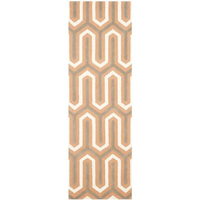 Martins Hand-Tufted Orange/Grey Area Rug Rug Size: Runner 26 x 8