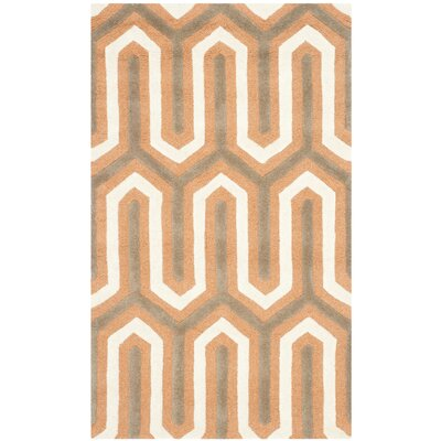 Martins Orange / Grey Area Rug Rug Size: 4 x 6