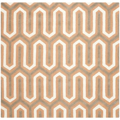 Martins Orange / Grey Area Rug Rug Size: Square 6