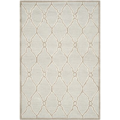Martins Hand-Tufted Wool Light Gray/Ivory Area Rug Rug Size: Rectangle 6 x 6