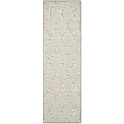 Martins Hand-Tufted Wool Light Gray/Ivory Area Rug Rug Size: Runner 26 x 8
