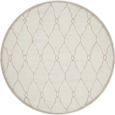 Martins Hand-Tufted Wool Light Gray/Ivory Area Rug Rug Size: Round 6