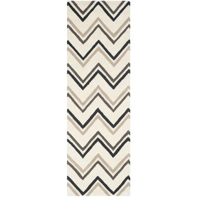 Charlenne Hand-Tufted Wool Ivory/Black Area Rug Rug Size: Runner 26 x 8