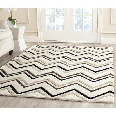 Charlenne Wool Ivory / Black Area Rug Rug Size: 2 x 3