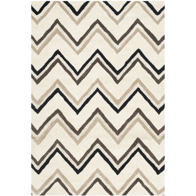 Charlenne Wool Ivory / Black Area Rug Rug Size: 4 x 6