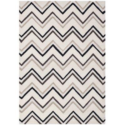 Charlenne Wool Ivory / Black Area Rug Rug Size: 5 x 8