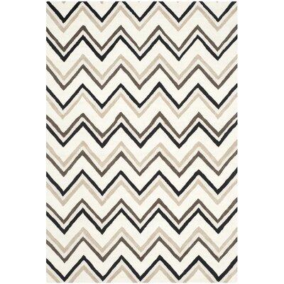 Charlenne Wool Ivory / Black Area Rug Rug Size: 6 x 9