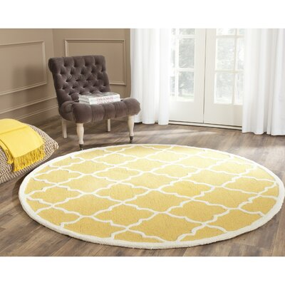 Charlenne Gold / Ivory Area Rug Rug Size: Round 6