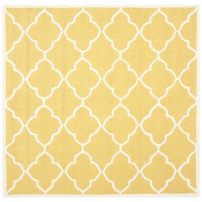 Charlenne Gold / Ivory Area Rug Rug Size: Square 6