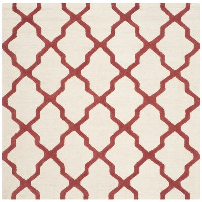 Charlenne Wool Ivory / Rust Area Rug Rug Size: Square 6