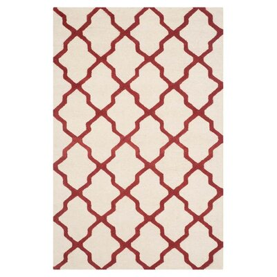 Charlenne Wool Ivory / Rust Area Rug Rug Size: Rectangle 4 x 6