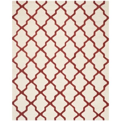 Charlenne Wool Ivory / Rust Area Rug Rug Size: Rectangle 12 x 18