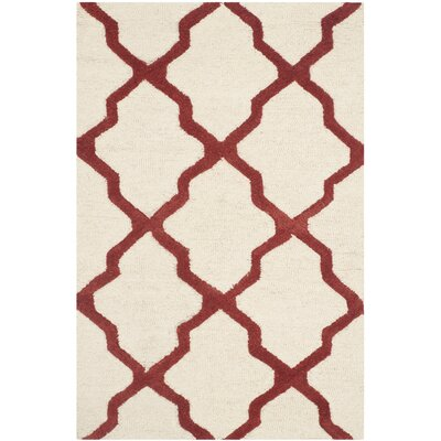 Charlenne Wool Ivory / Rust Area Rug Rug Size: Rectangle 26 x 4
