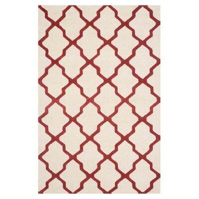 Charlenne Wool Ivory / Rust Area Rug Rug Size: 4 x 6