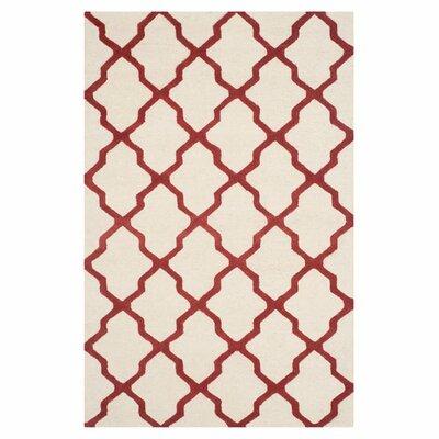 Charlenne Wool Ivory / Rust Area Rug Rug Size: 5 x 8